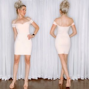 Blush Pink Off Shoulder Fitted Mini Dress